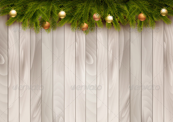 Christmas Decoration on Wooden Background - New Year Seasons/Holidays