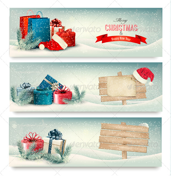 Christmas Winter Banners with Presents. Vector.  - Christmas Seasons/Holidays