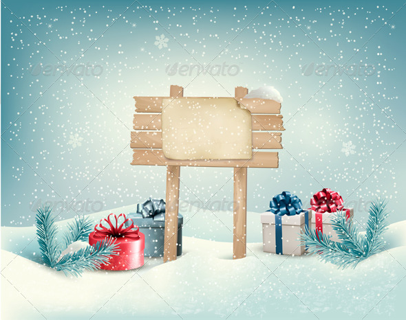 Christmas Winter Background with Presents - New Year Seasons/Holidays