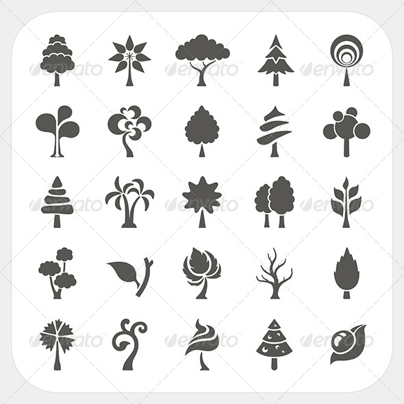 Abstract Tree Icons Set - Nature Conceptual