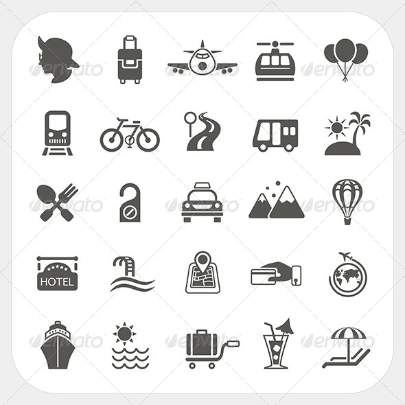Travel and Transportation Icon Set  - Travel Conceptual