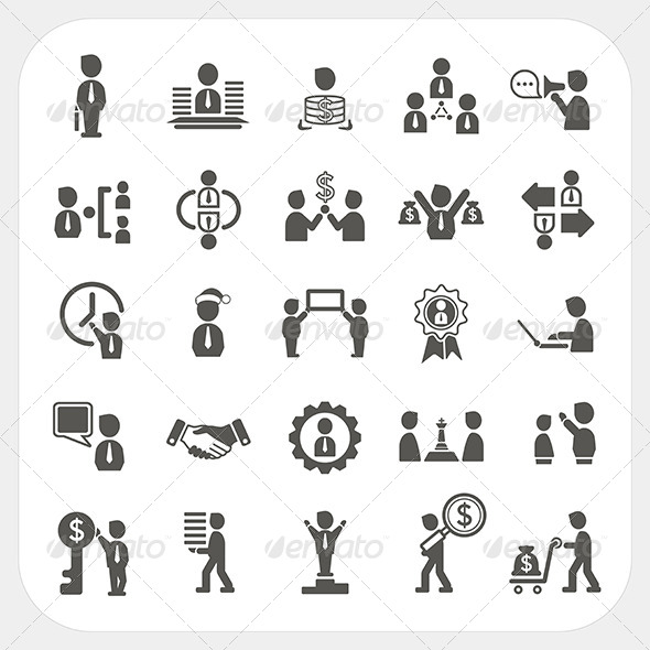 Management and Business Icons Set - People Characters