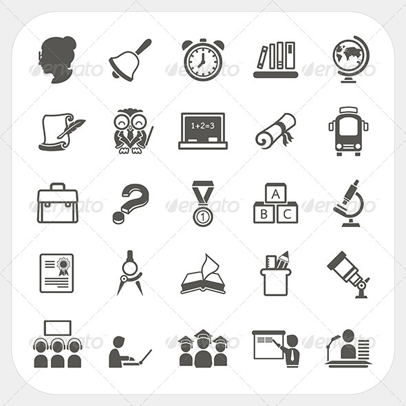 Education Icons Set - Conceptual Vectors