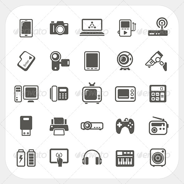 Electronic Device Icons Set - Technology Conceptual