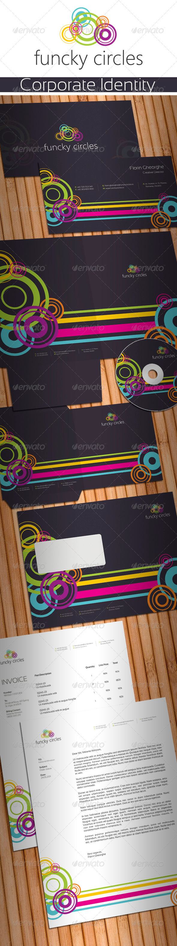 Funcky Circles Stationery - Stationery Print Templates