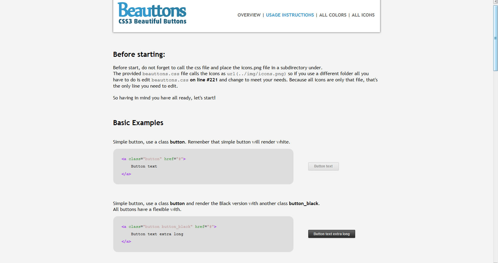 Beauttons - Beautiful CSS3 Buttons - Screenshot of included html - Usage instructions