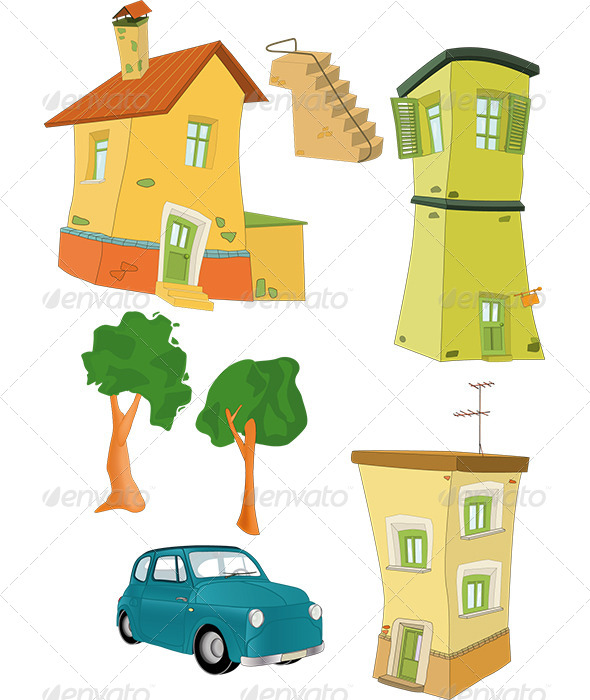 Set Small Houses Trees the Car and a Ladder  - Objects Vectors