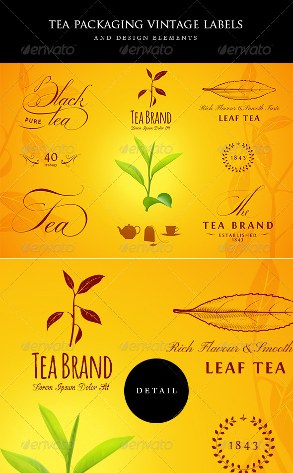 Tea Vintage Labels and Design Elements - Badges & Stickers Web Elements