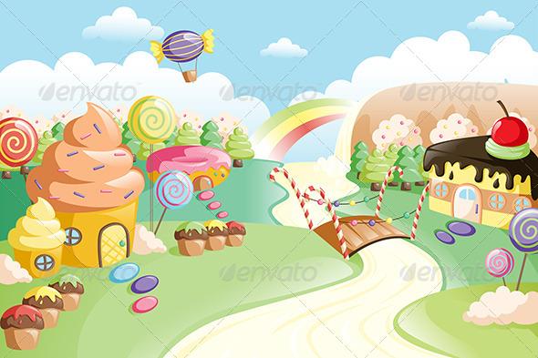 Fantasy Sweet Food Land - Food Objects