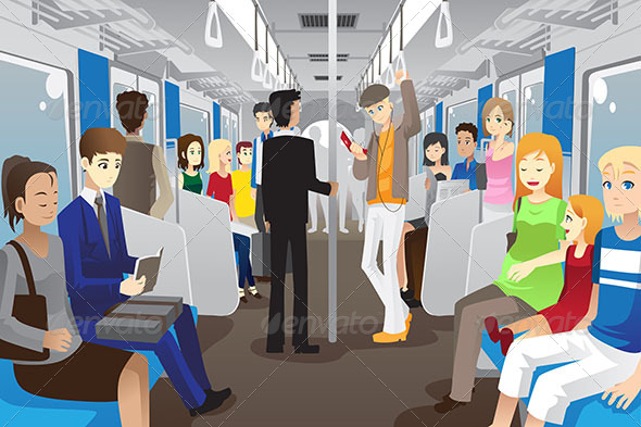 People in Subway Train - People Characters