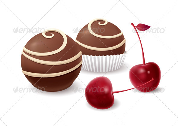 Chocolate Candy and Cherry - Food Objects
