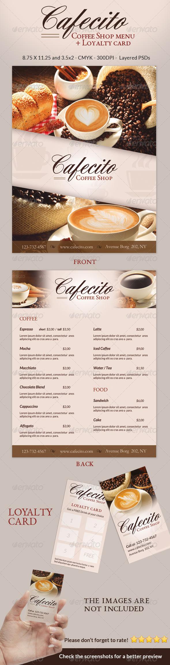 Cafecito Coffee Shop Menu + Loyalty Card - Food Menus Print Templates