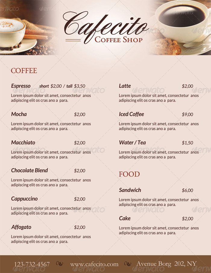 Cafecito Coffee Shop Menu  Loyalty Card By Ingridk  Graphicriver