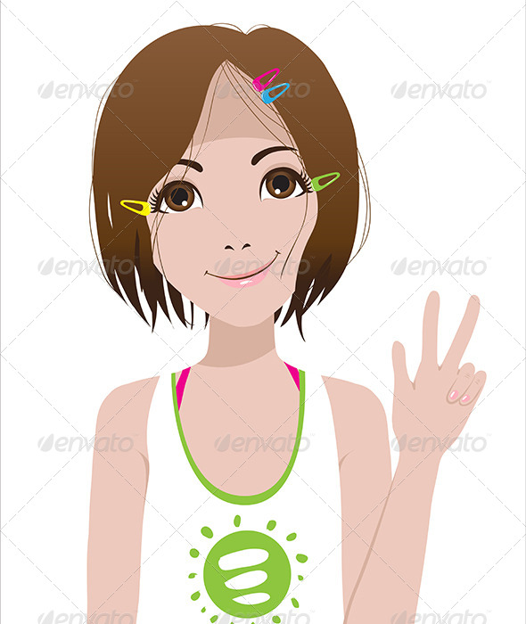 Smiling Girl. Victory Sign. - People Characters