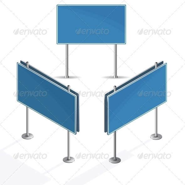 Blank Blue Road Sign on White Background - Man-made Objects Objects