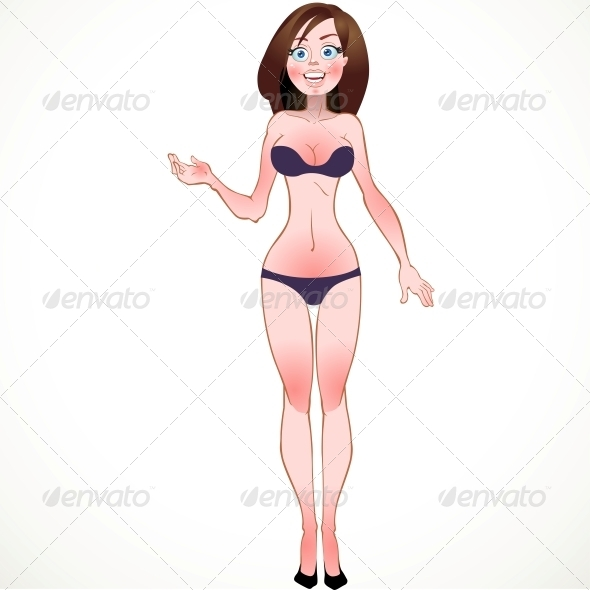 Brown-Haired in Blue Underwear - People Characters