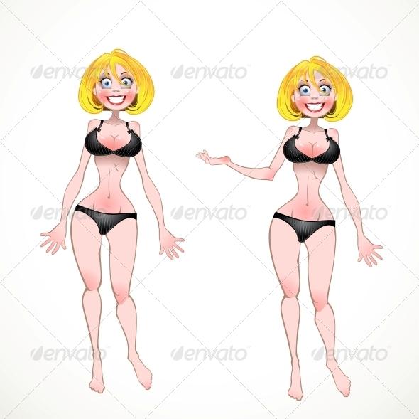 Blond in Black Underwear  - People Characters