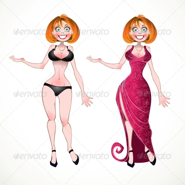Woman and in Pink Evening Dress - People Characters