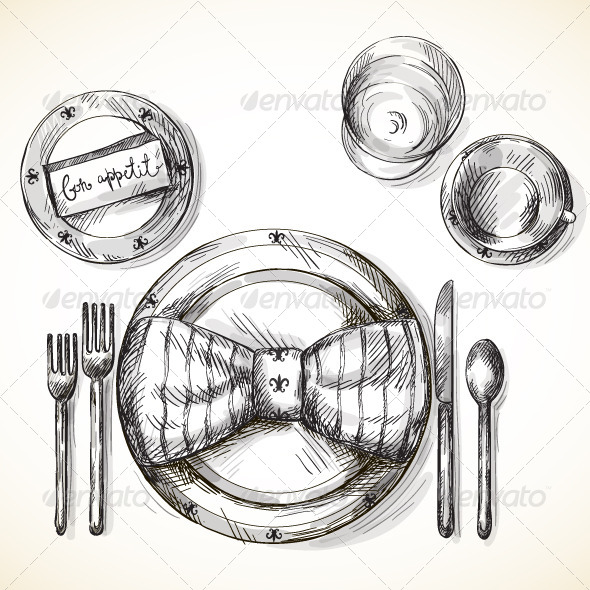 Festive Table Setting - Food Objects