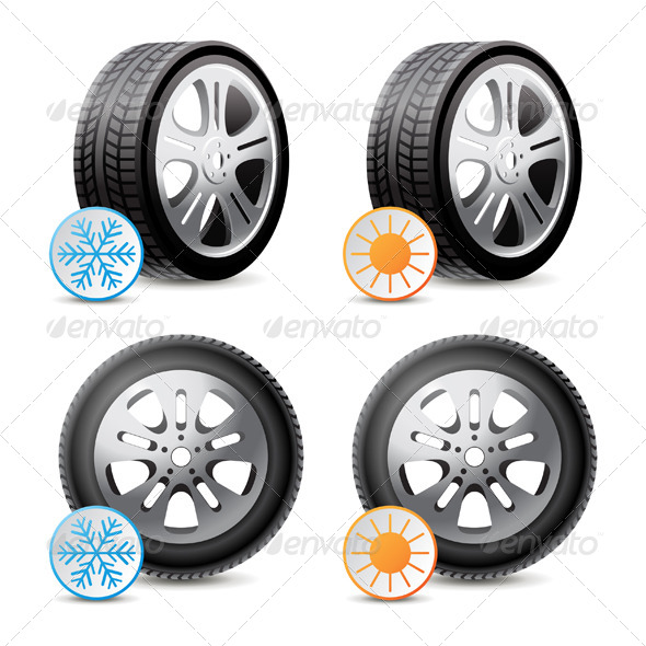 Car Wheels with Winter and Summer Tires - Man-made Objects Objects
