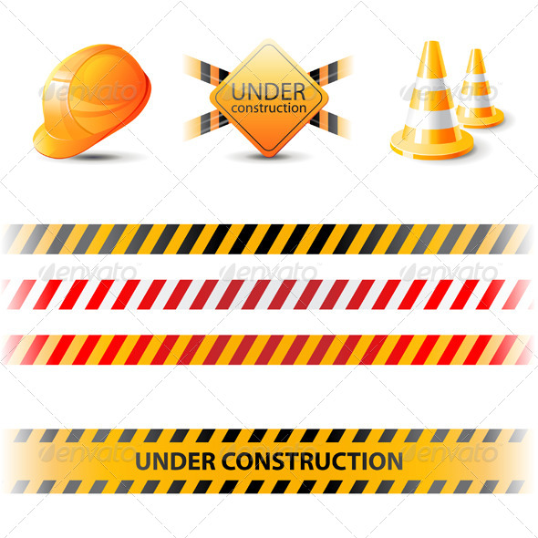 Under Construction Ribbons and Design Elements - Miscellaneous Vectors