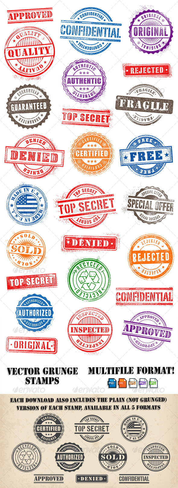Grunge Commercial and Promotional Stamps Set - Vectors