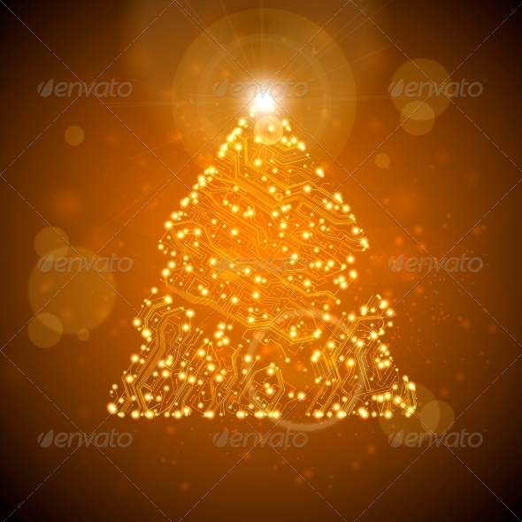 Circuit Board Vector Background - Christmas Seasons/Holidays