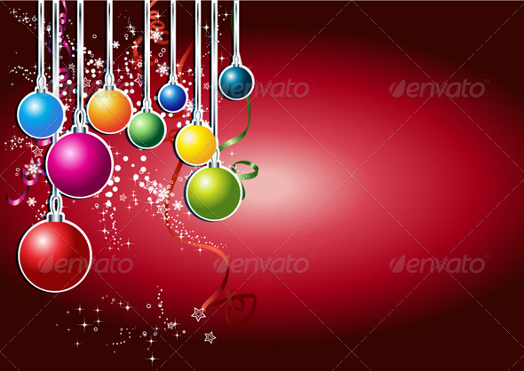 Happy New Year Card with Christmas Ball - New Year Seasons/Holidays