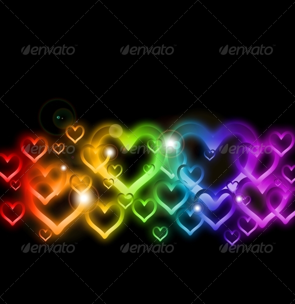 Rainbow Heart Border with Sparkles - Valentines Seasons/Holidays