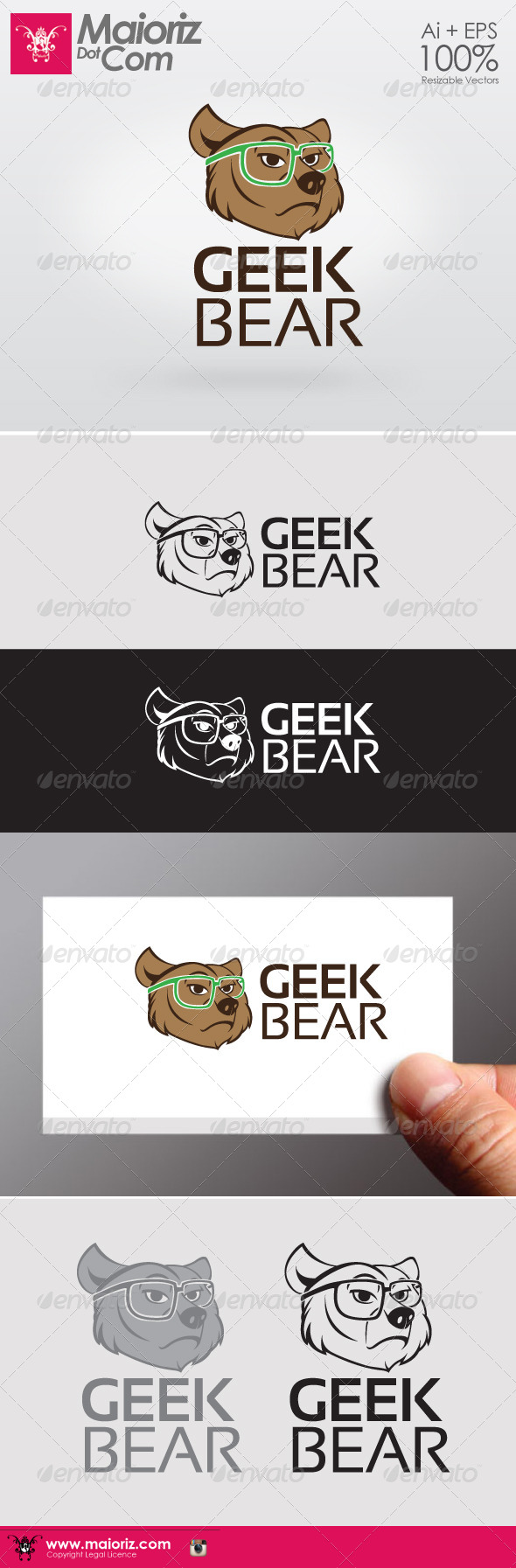 Geek Bear Logo - Animals Logo Templates