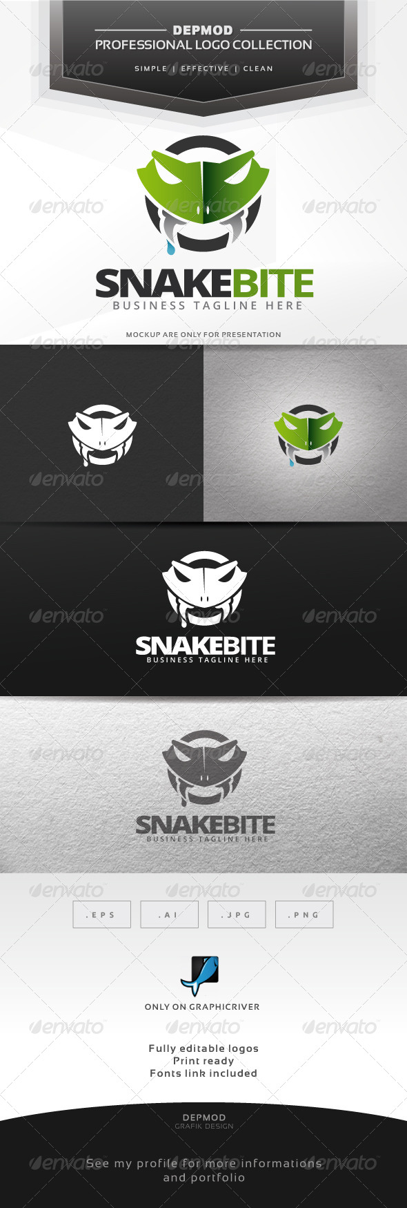 Snake Bite Logo - Animals Logo Templates