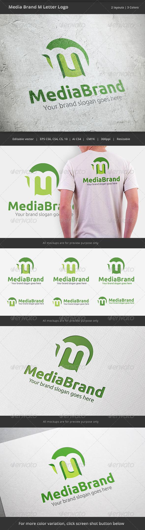 Media Brand Letter M Logo - Letters Logo Templates