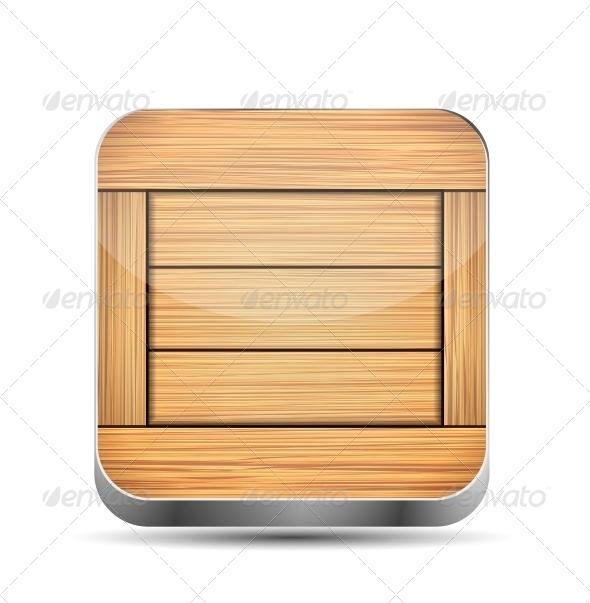 Wooden App Icon - Web Elements Vectors