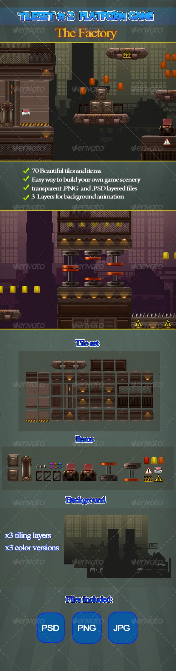 2D Tileset Platform Game 2 - Tilesets Game Assets