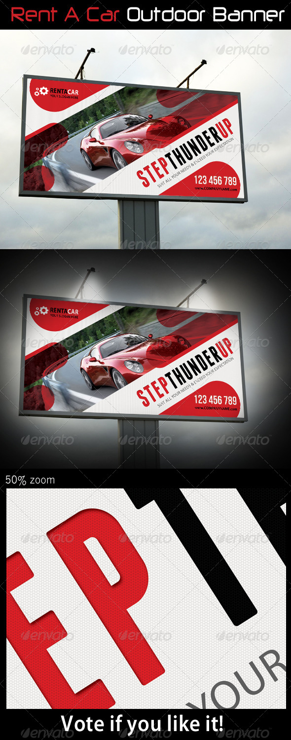 Rent A Car Outdoor Banner 06 - Signage Print Templates