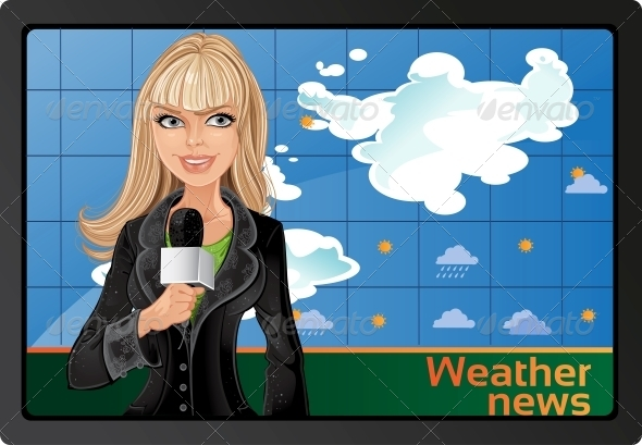 Blond Girl and Weather News - People Characters