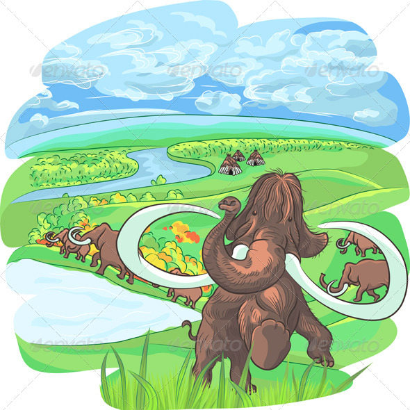 Vector Mammoths in a Landscape with a River - Animals Characters