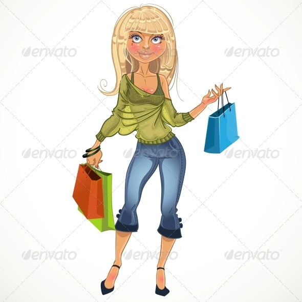 Blond Shopping Glamur Girl - People Characters