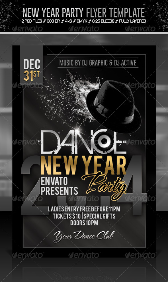New Year / Dance Party Flyer - Events Flyers