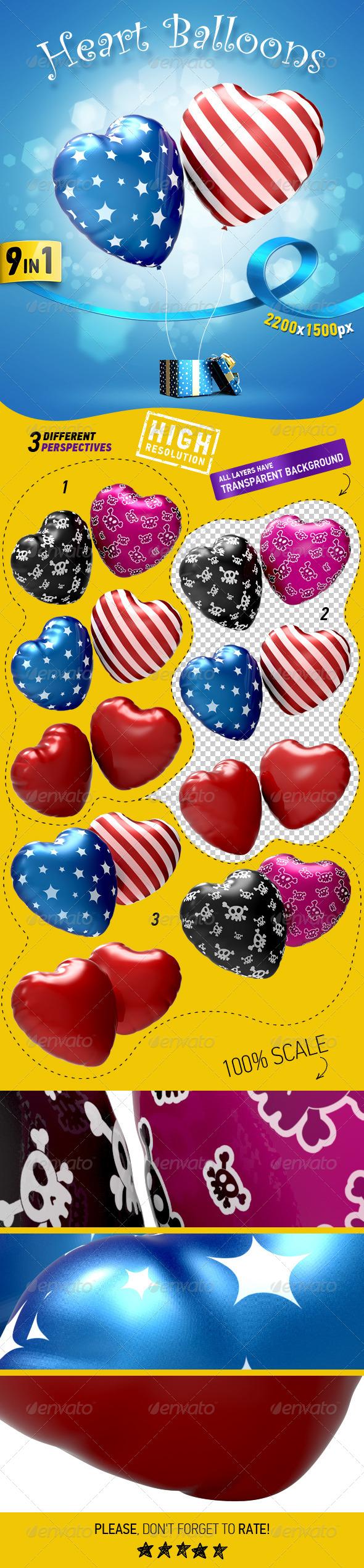 Heart Balloons - Miscellaneous 3D Renders