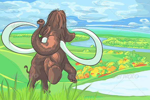 Mammoth in a Landscape with a River - Animals Characters