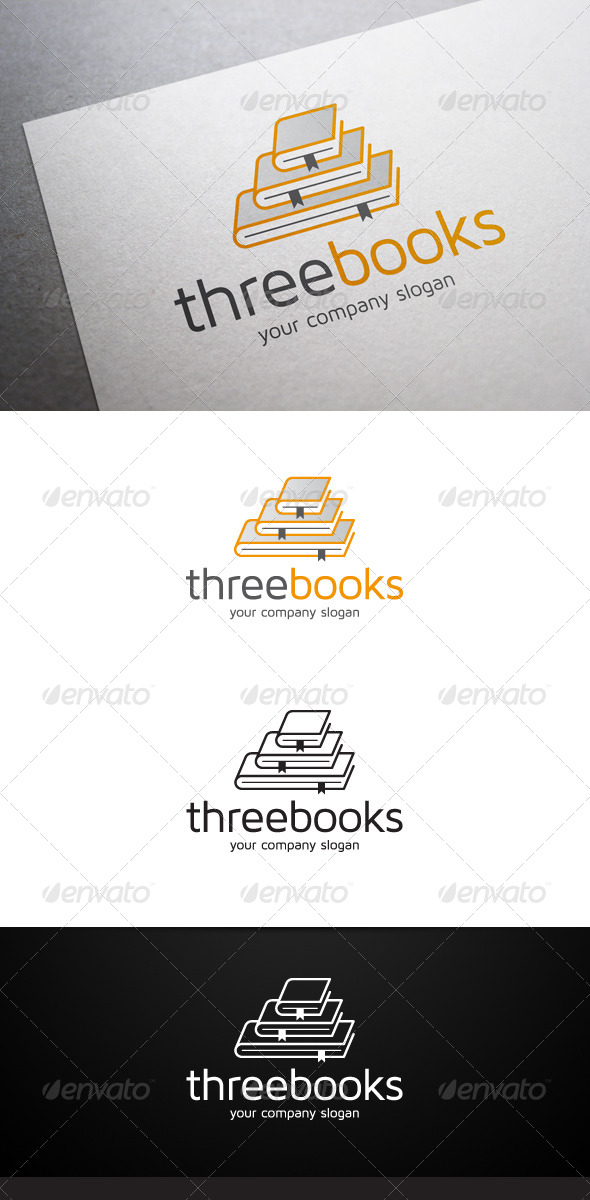 Three Books Logo - Objects Logo Templates