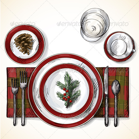 Christmas Table Setting - Food Objects
