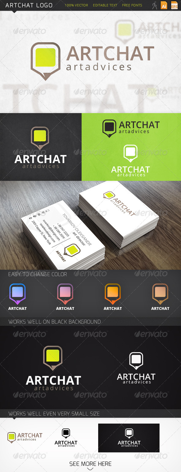 Art Chat Pencil Logo Template - Objects Logo Templates