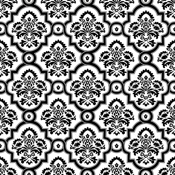Seamless Damask Pattern Background - Patterns Decorative