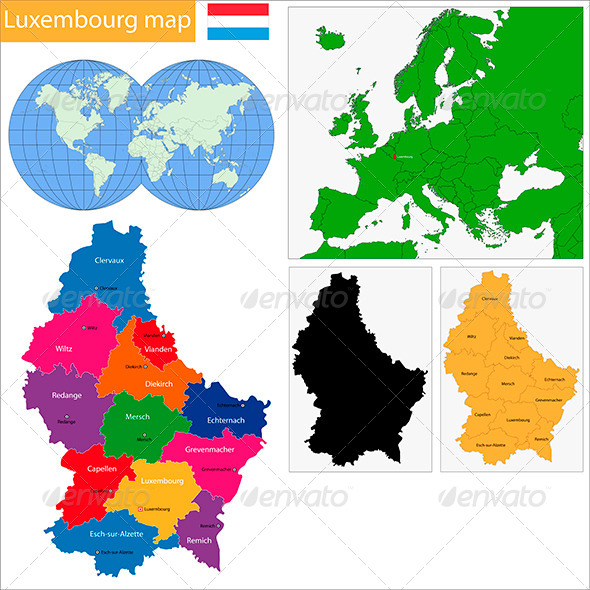 Luxembourg Map - Travel Conceptual