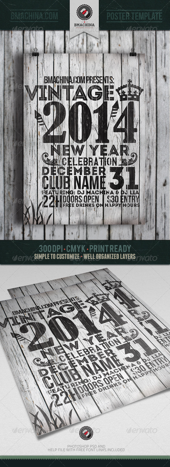 Vintage New Year's Flyer Template - Holidays Events