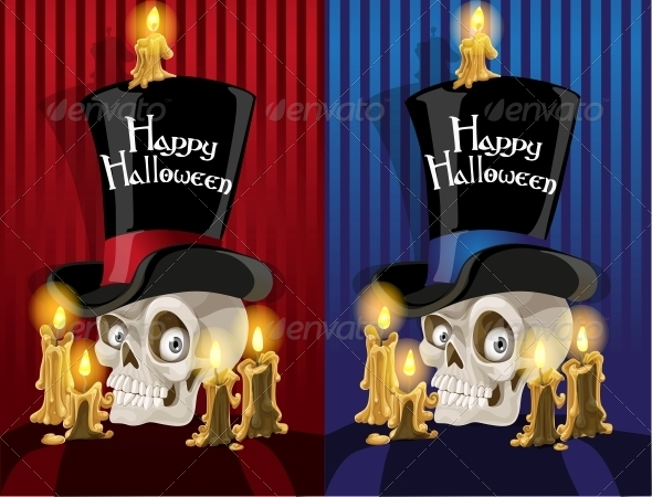 Banner with a Skull in the Cylinder - Halloween Seasons/Holidays