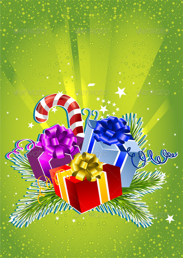 Happy New Year Card with Colorful Gift Boxes - Christmas Seasons/Holidays