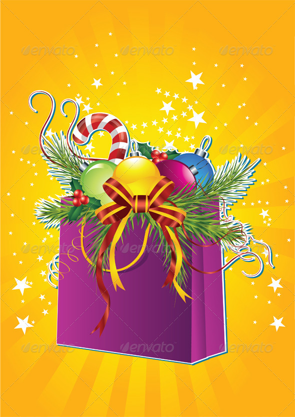 Happy New Year Card with Christmas Gift Bag - Christmas Seasons/Holidays